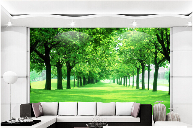 цены  Custom wall mural nature, green forest landscape for living room bedroom sofa TV wall  natural material de parede Papel