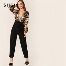 SHEIN スカーフプリントベルト付き冥衣ジャンプスーツ女性 2019 春秋長袖セクシーな黒ラップノットディープ V ネックジャンプスーツ