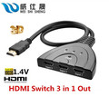 New 3 Port HDMI Multi Display Auto Switch Hub Box 1.3 1080P Switcher 3 in 1 out Splitter for HDTV DVD Xbox 360 PSP