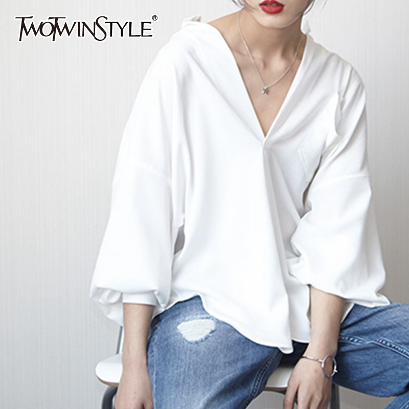 TWOTWINSTYLE White T Shirt For Women V Neck Batwing Sleeve Big Size Basic T Shirt Tops Summer Fashion Female Casual Clothing