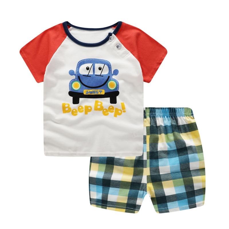 Брендовые Детские спортивные комплекты, спортивный костюм для мальчиков, летняя одежда для детей с принтом автомобиля, костюм для детей 24 м...