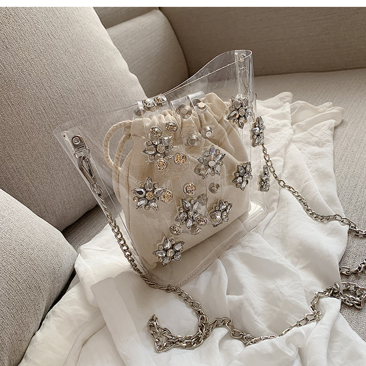 Transparent small bag female 2019 summer new wave Korean version of the wild chain Messenger bag fashion bucket bag