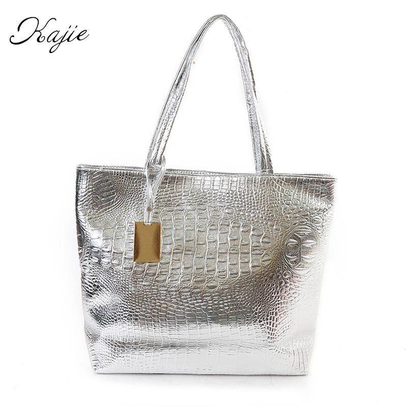 Kajie New Fashion Crocodile Women Shoulder Bags Silver Gold Black  Handbag PU Leather Female Large Tote Bag Ladies Hand Bags Sac yuanyu new 2017 new hot free shipping crocodile women handbag single shoulder bag thailand crocodile leather bag shell package