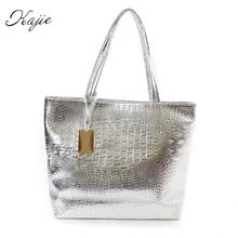 Kajie New Fashion Crocodile Women Shoulder Bags Silver Gold Black  Handbag PU Leather Female Large Tote Bag Ladies Hand Bags Sac