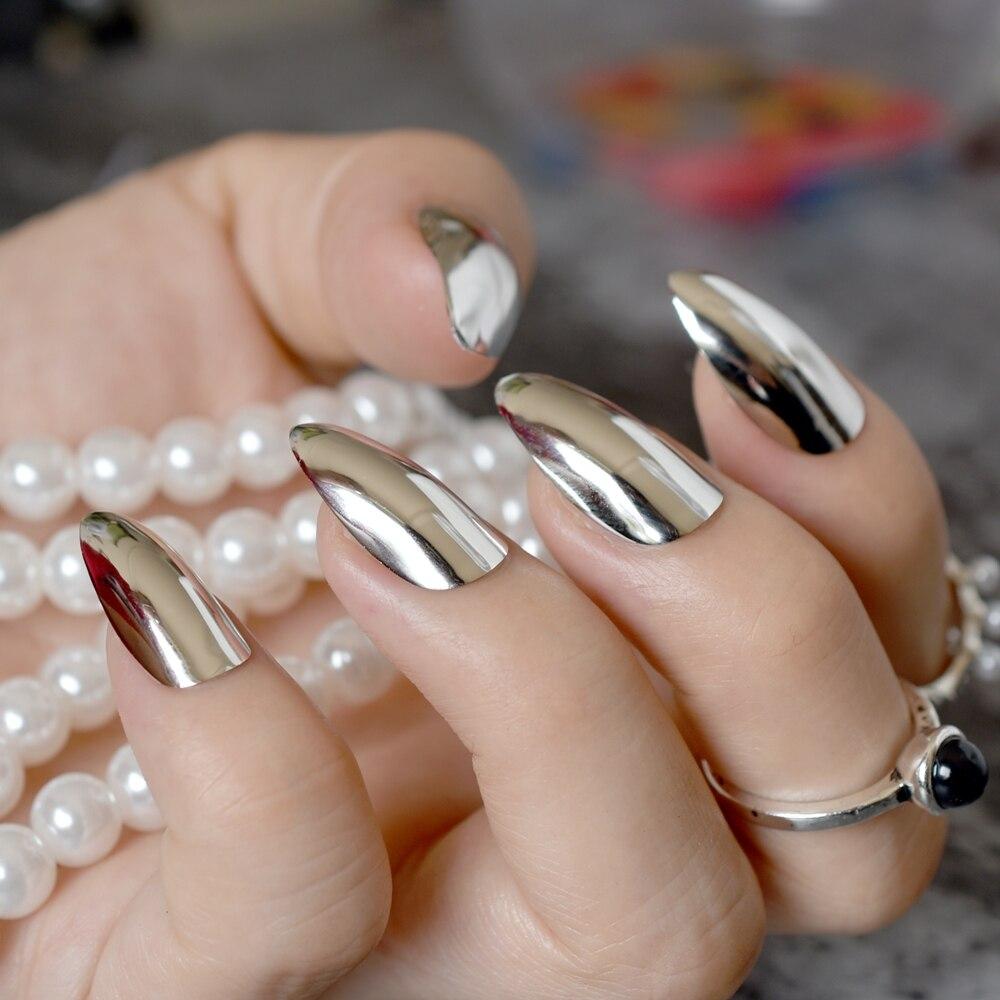24pcs Shiny Mirror Nails Silver Metallic Sharp Stiletto False Nail ...