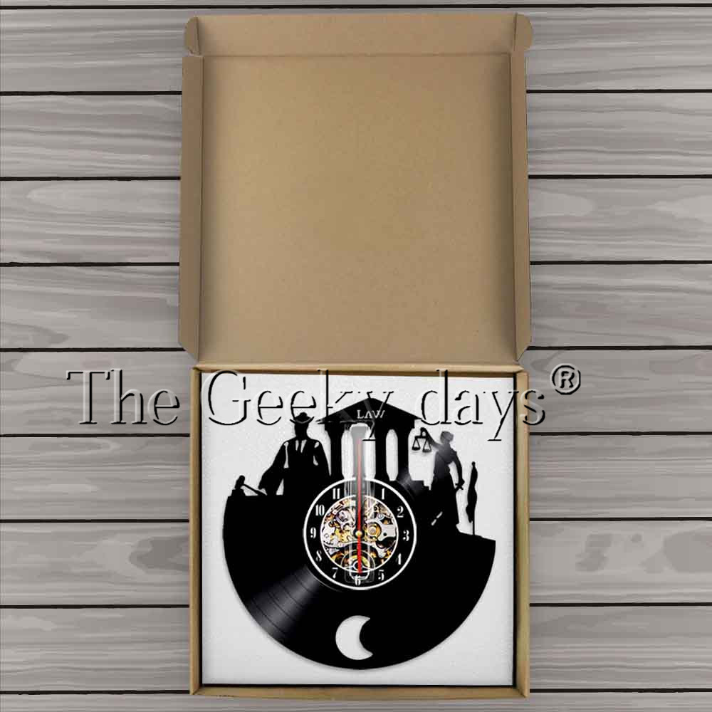 1piece Law Firm Wall Art Decor Clock Scale Of Justice And Gavel Vinyl Record Handmade Craft Gift For Lawyer In Clocks From Home