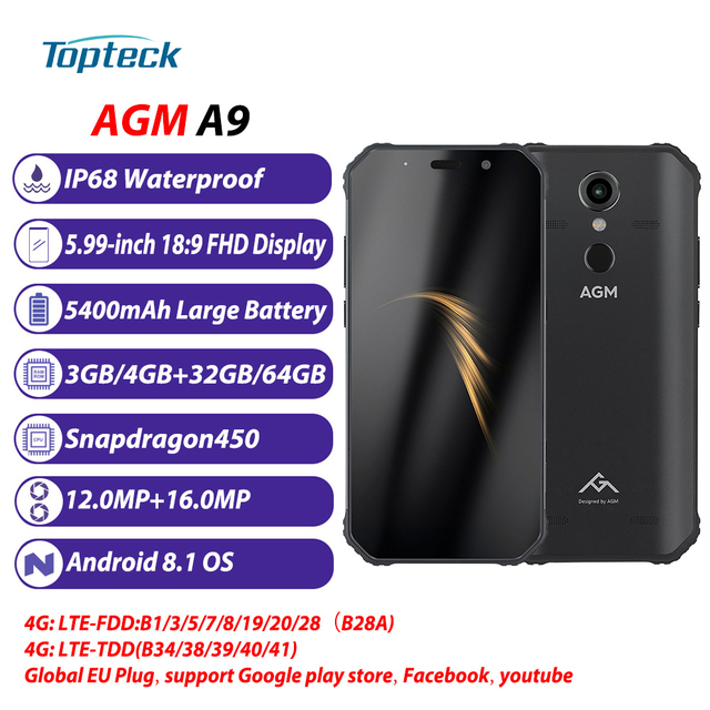 AGM A9 5400mAh 3/4GB 32/64GB Rugged Mobile Phone IP68 Waterproof 5.99inch 18:9 16MP+12MP Cameras Fingerprint 4G LTE Smartphone