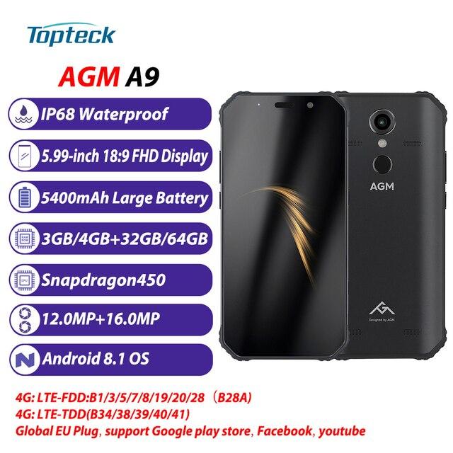 AGM A9 5400mAh 3/4GB 32/64GB Rugged Mobile Phone IP68 Waterproof 5.99inch 18:9 16MP+12MP Cameras Fingerprint 4G LTE Smartphone