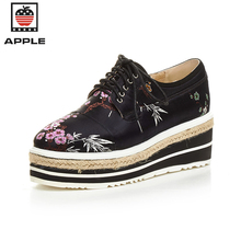 Apple girls's vulcanize sneakers handmade embroider Genuine Leather Height Increasing comfortable girls platform sneakers