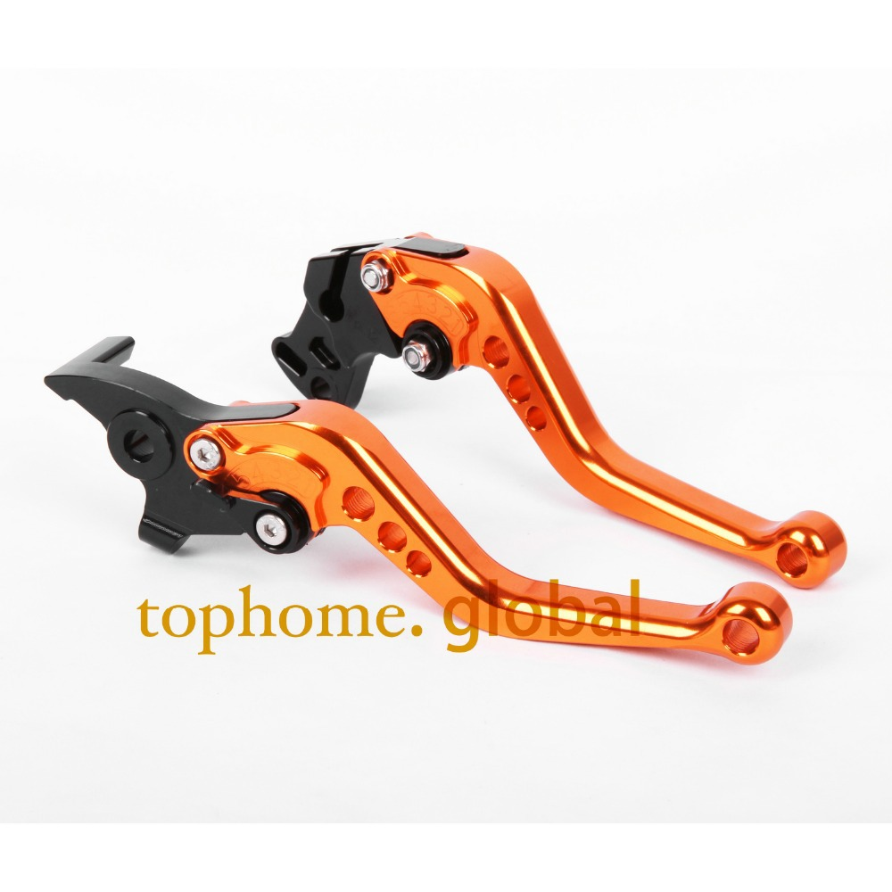 Motorcycle CNC Clutch Brake Levers For KTM 690 Duke R 2014-2015 Orange&Black Handlebar Short Size