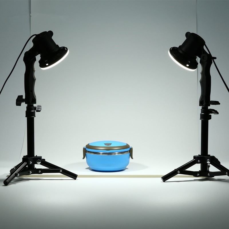 TRUMAGINE 2PCS Photo Studio Flash LED Lamp Photography studio light bulb Portrait Soft Box Fill Lights Bulb + 2*37CM Light Stand dicens ld 200 u2 studio lights 200w flash lamp flash light photography light flash light