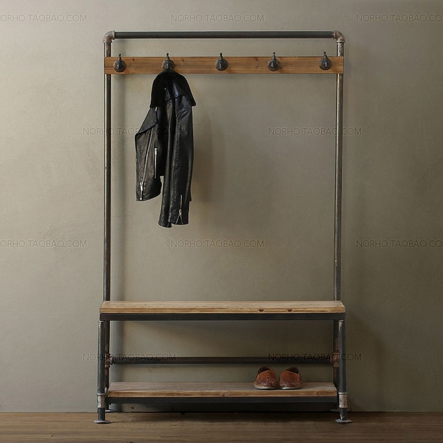 American Retro Wood To Do The Old Industrial Pipe Coat Rack Clothing Beauteous Pipe Coat Rack