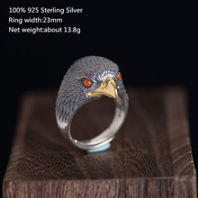 100% 925 Sterling Silver Unique Rings for Men Vivid Luxury Jewelry Ring Fashion Eagle