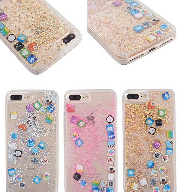 Liquid Quicksand Phone Case For iPhone X 7 8 Plus Icon APP PC hard +TPU soft Glitter Cas ...