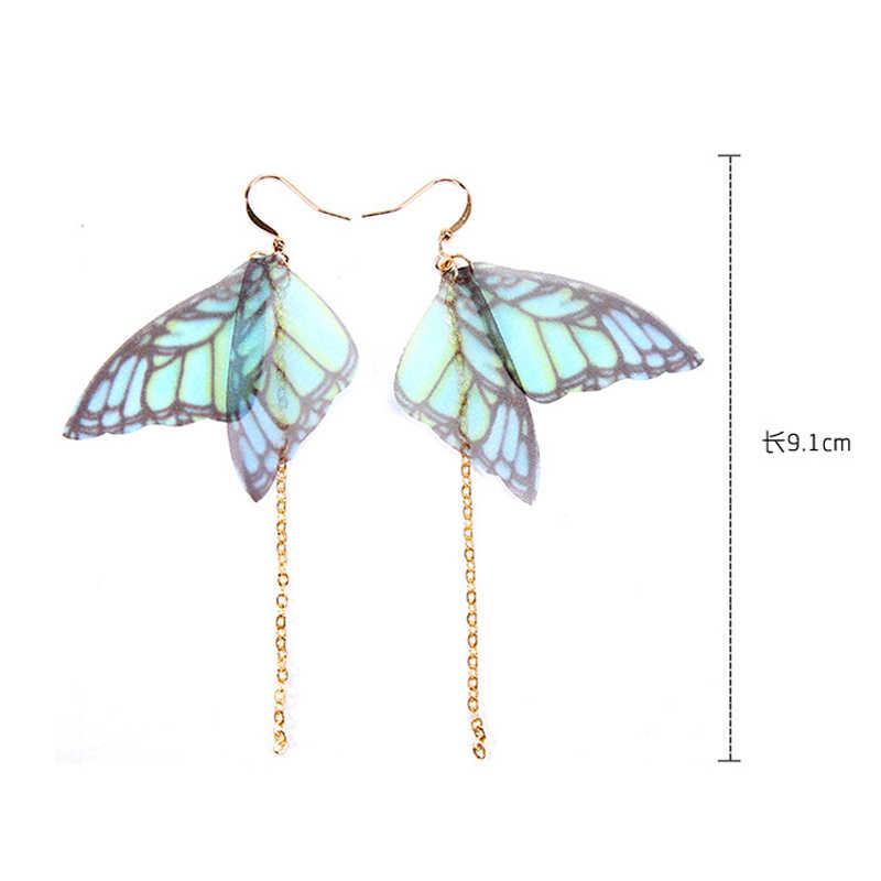 クレイジー風水 2018 ファッションファム蝶翼ドロップイヤリングゴールドカラーロングチェーンタッセルイヤリングはボヘミアンジュエリー Brincos