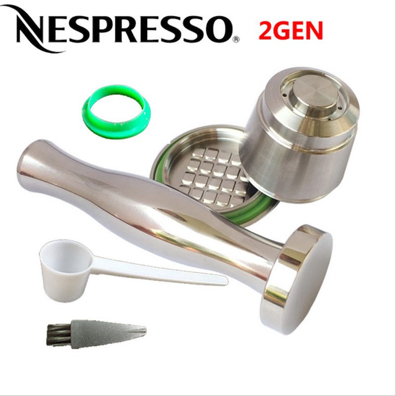 2nd Generation Stainless Steel Metal Refillable Reusable Capsule For Nespresso Machine + Flat Base Coffee Tamper