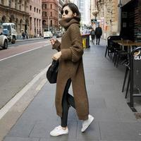 SuperAen 2018 New Winter Korean Style Women Long Sweater Wild Casual Turtleneck Loose Ladies Sweater Fashion Solid Color Sweater