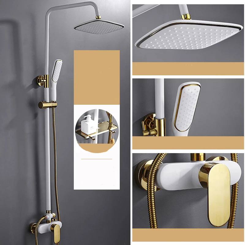 Bathroom white gold shower set brass wall shower faucet white shower set gold white Bathtub hot&cold Faucet shower SetsBathroom white gold shower set brass wall shower faucet white shower set gold white Bathtub hot&cold Faucet shower Sets