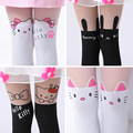 Summer Children's Baby Kids Girls Thin Tights Pantyhose Knee Fake Tattoo Velvet Stocking white Cartoon Kitty Cat 3-8Y Girls good