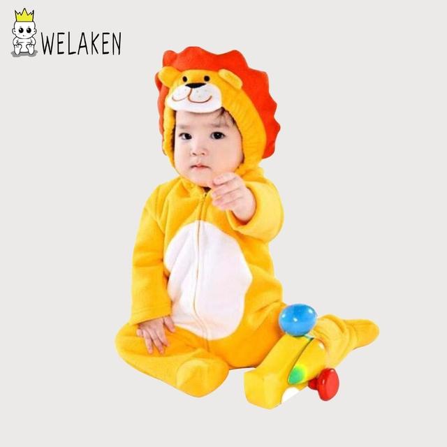 Welaken 2017 romper do bebê dos desenhos animados leão além do velo longo da luva roupas cosplay traje do bebê roupas para bebês recém-nascidos do bebê macacão crianças