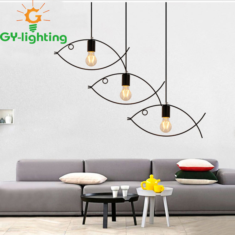 Free Shipping Industrial Style Fish Lamp Modern LED Pendant Light Led Pendant Lamp Iron 220V Suspension Lamp For Dinning Room nordic wrought iron simple modern pendant lamp with led bulb dinning room light cafe lamp e27 110v 220v free shipping