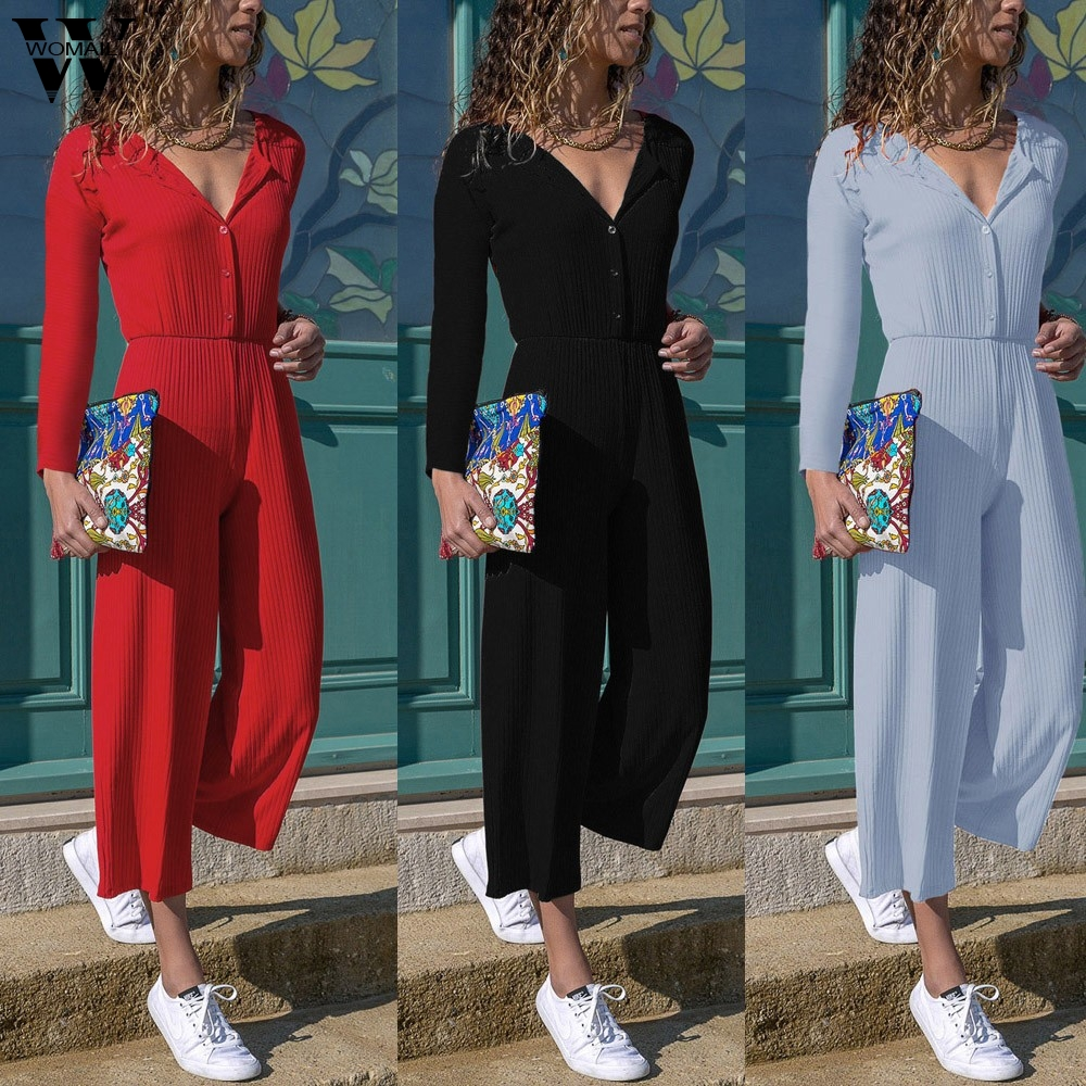 Womail bodysuit Women Summer V Long Sleeve Wide Leg Casual   Jumpsuit   Playsuit Party Holiday Beach Fashion 2019 f28