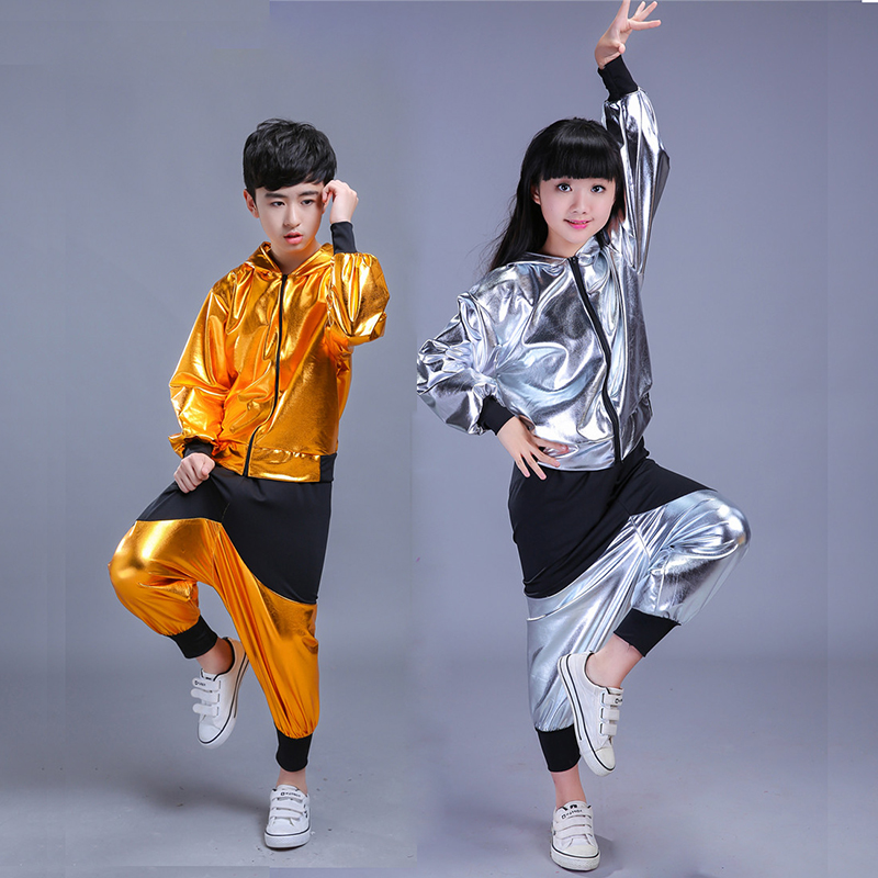 New Children Stage Clothes Modern Jazz Sweatshirt Hip Hop Dance Perform Sets Trackingsuit Suit Costume For Girls Boys Clothing 4