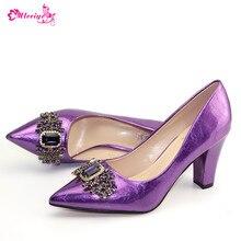Фиолетовый Африканский цвет; Свадебная женская обувь; большие размеры 42; итальянский дизайн; элегантная женская обувь для вечеринок; Новое поступление; летние шлепанцы
