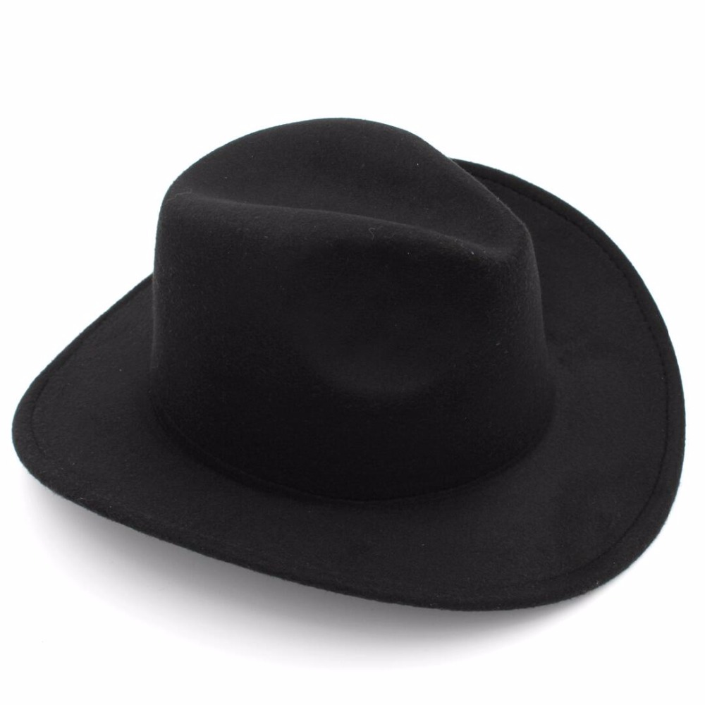 6ce76415a9165 LUCKYLIANJI Trilby Wool Felt Fedora Cowboy Hat Solid Color Western Bull Jazz  Sun Chapeu Caps For Men Women (One Size 57cm)-in Cowboy Hats from Men s ...