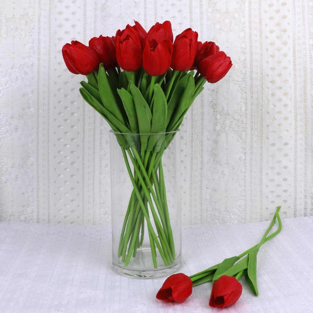 5 sztuk czerwony sztuczne tulipany PU tulipan sztuczne kwiaty ślub Home dekoracyjne kwiaty kwiat dekoracyjny do domu