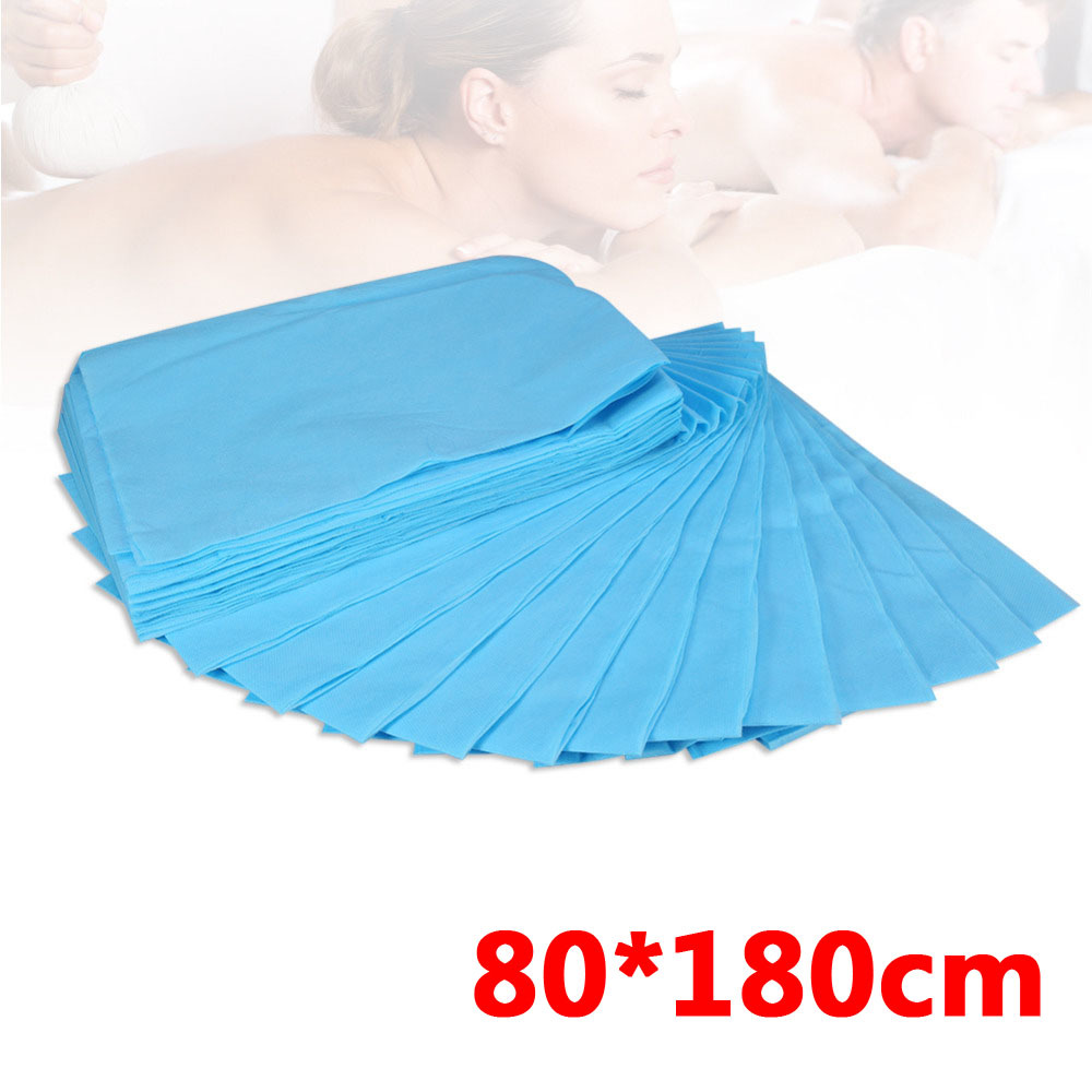 10 Pcs Massage Waterproof Disposable Non-woven Bed Table Cover Sheets Beauty Salon Dedicated blue 80X180cm