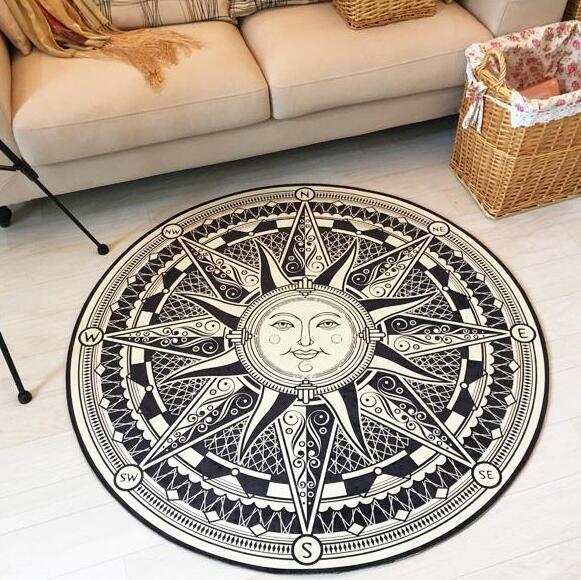 Européenne fornasetti Titan carré style noir et blanc salon tapis chambre table basse tapis non-slip salon tapis