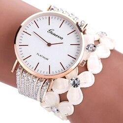 Модные часы Geneva с цветами, женские элегантные кварцевые часы, браслет с кристаллами и стразами, наручные часы в подарок