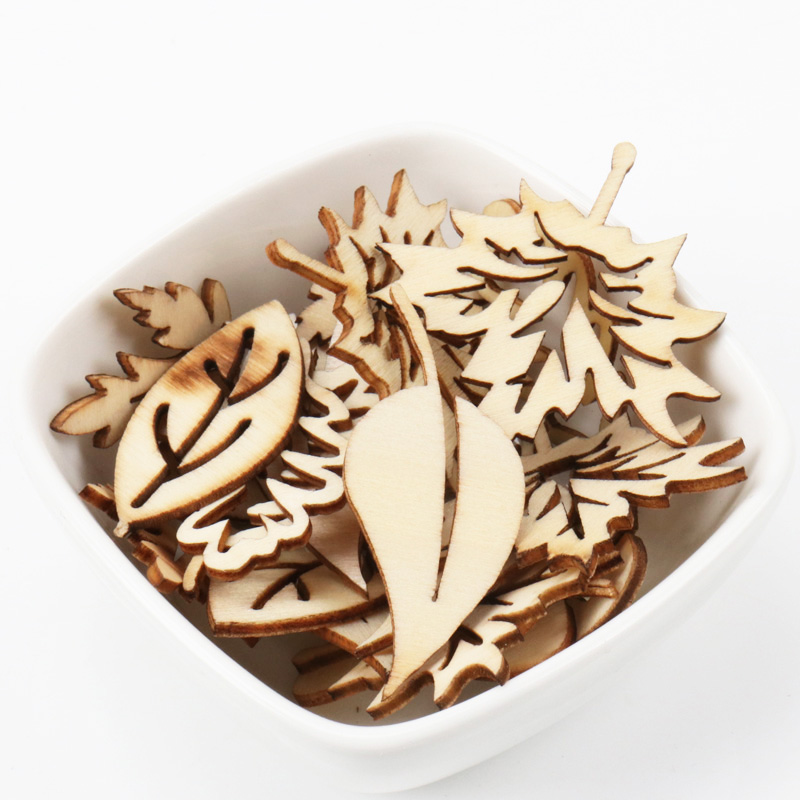 Mixed Leaves Pattern Wooden Scrapbooking Art Collection Craft For Handmade Accessory Sewing Home Decoration 20-40mm 20pcs MZ139