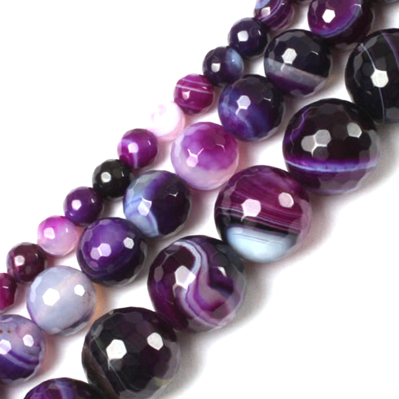 Gem-inside 6mm-10mm Natural Round Faceted Banded Purple Sardonyx Agates Beads For Jewelry