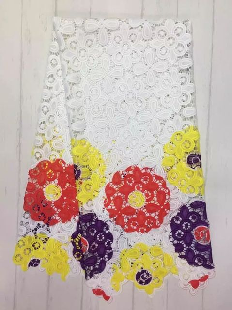 부드러운 흰색 아프리카 레이스 패브릭 웨딩 드레스 레이스, 아프리카 Guipure 레이스 직물 2016 아프리카 코드 레이스 최신 (jy)