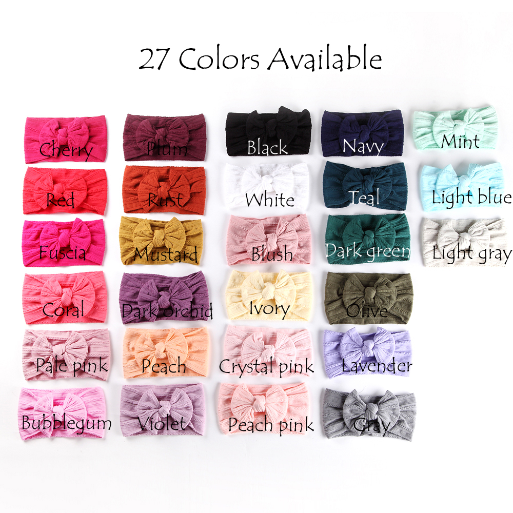 100 pcs lot Wholesale Cable Knit Nylon Bow Headwraps Classic Knot wide nylon headbands Kids Girls