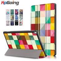 KpGoing Cute Art Paint Tri Fold PU Leather Case For Lenovo TAB4 10 Plus TB X704F