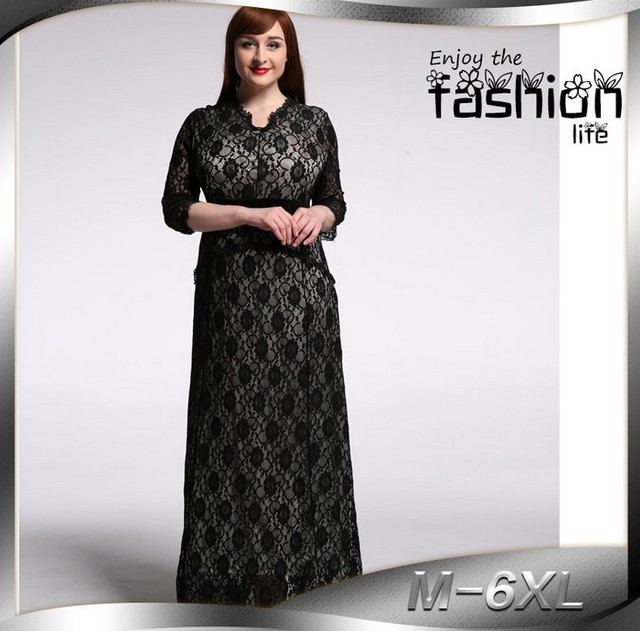 sexy see through black lace floral embroidered dress fashion woman vacacion  dresses o-neck long ...
