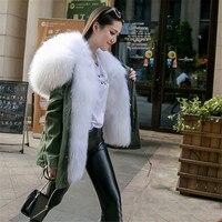 Real White fox fur parka green outwear jacket white fox fur hood parka coats stole fabric women real fur fox parka winter plus