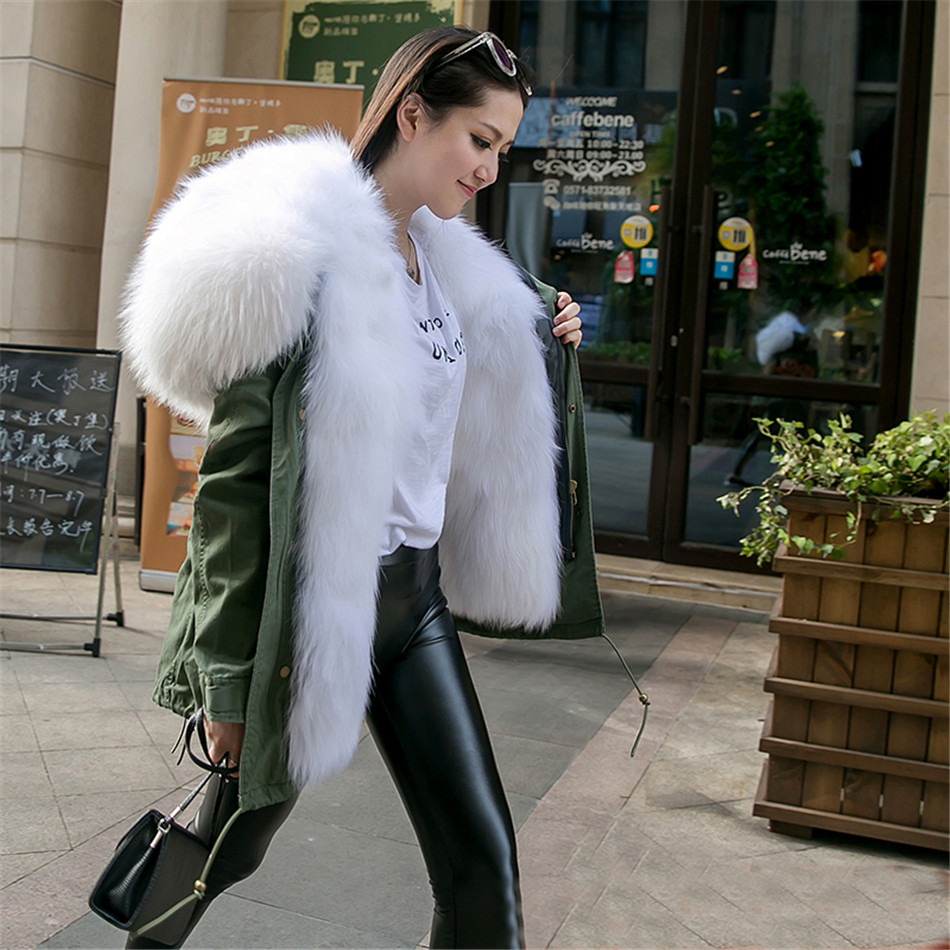 Real White fox fur parka green outwear jacket white fox fur hood parka coats stole fabric women real fur fox parka winter plus