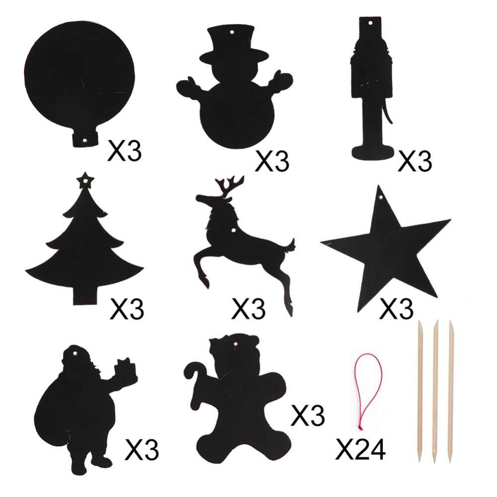 Drawings Of Christmas Decorations.Ourwarm 24pcs Diy Christmas Ornaments Magic Color Scratch Party Diy Decoration Coloring Cards Scraping Drawing Toys For Children