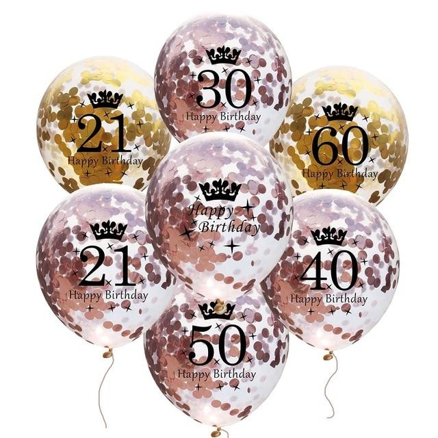 5pcs Happy Birthday Balloon Birthday Number Balloons 30 40 50 60 Latex Balloons Wedding Anniversary Decor Birthday Supplies