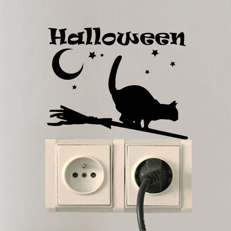 Halloween Cat Wall Decals Vinyl Moon Switch Sticker Bedroom Decor A3187 China Mainland