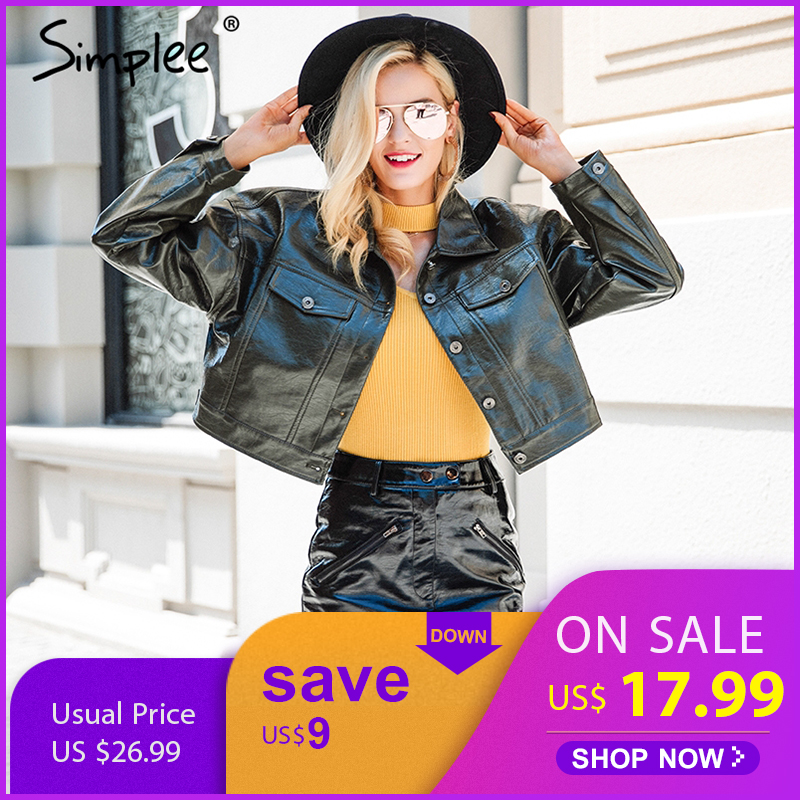 Simplee Fashion autumn women PU leather   jacket   coat female Green pocket   basic     jacket   Casual button outerwear faux leather coat