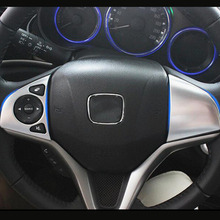 цена на For Honda City Sedan 2014 2015 2016 accessories car Styling ABS Plastic Chrome Car Steering wheel Button frame Cover Trim