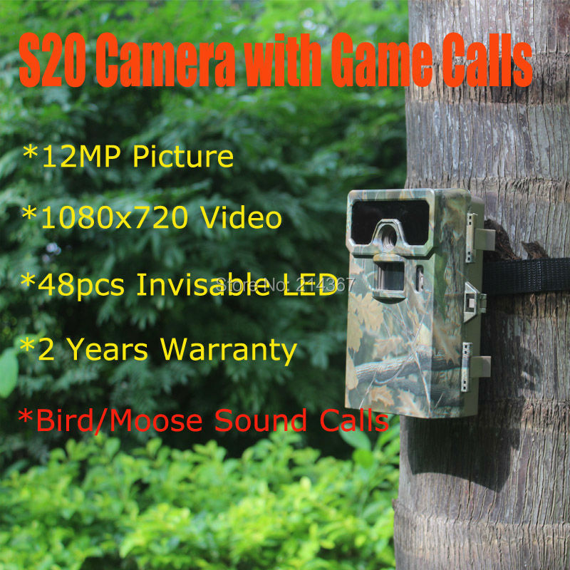 S20 Hunting Cameras 48pcs Invisable IR LED Forest Camera with Bird Caller Hunting Camera Wild Cameras Free Ship the smallest mini size hunting game cameras portable mini wild cameras mini hunter scouting cameras free ship