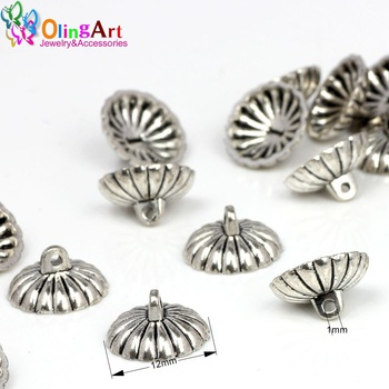 OlingArt 24pcs/lot 12MM Tibetan style silver-color pendant Metal Bead Caps DIY Jewelry Findings making Connector Cap 2019 NEW