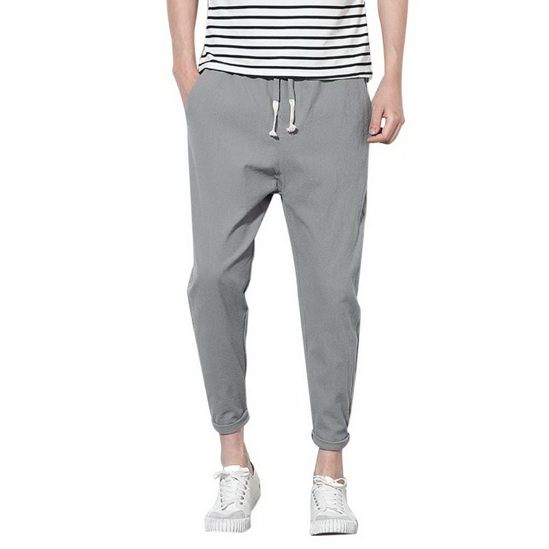 2018 Men Harem Linen Pants Casual Gray Elastic Waist