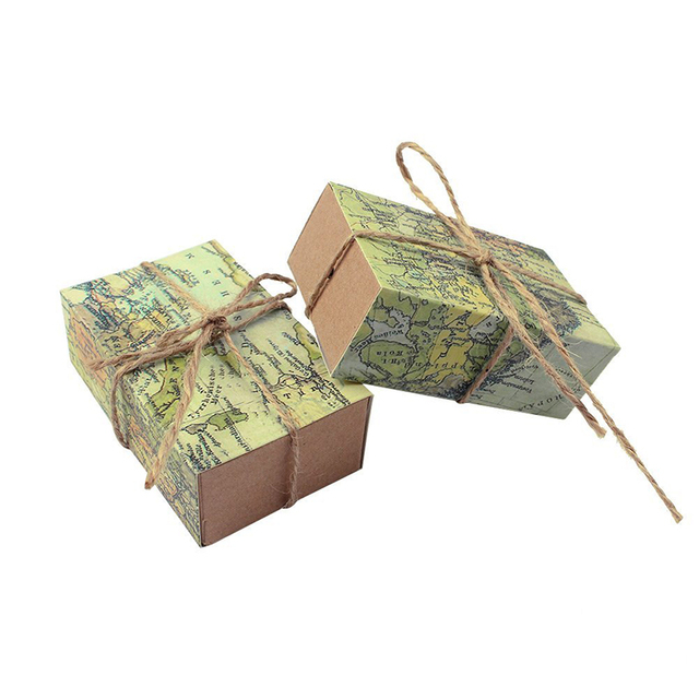 50pcs world map kraft paper gift boxes wedding favors and gifts event party supplies baby shower